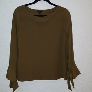 Ann Taylor classy olive green tie sleeve blouse